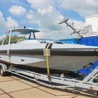 New boat on a trailer